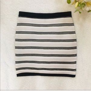 All Seasons Black and White Stripped Mini Skirt